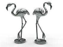 Two metallic flamingo statues Stock Photos
