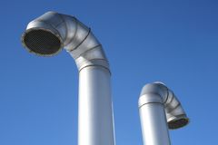 Two Metallic Industrial Pipes Stock Image