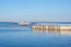 Two Meteor speedboats in Peterhof Harbor. Two Meteor speedboats are arriving in Peterhof Harbor, Russia Royalty Free Stock Image