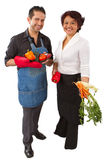 Two Mexican Cooks With Vegetables Royalty Free Stock Photography