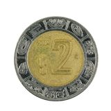 Two mexican peso coin 2004 isolated on white background. Specimen stock image