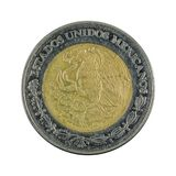 Two mexican peso coin 2004 isolated on white background. Specimen stock photo