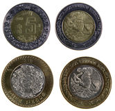 Two Mexican Peso Coins. A close-up shot of a Mexican ten and five peso coins Royalty Free Stock Photo