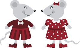 Two mice. Two little mouse boy and girl Royalty Free Stock Photo