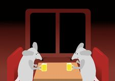 Two mice are drinking the beer Stock Photos