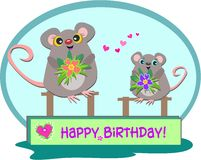 Two Mice with a Happy Birthday Greeting Stock Photos