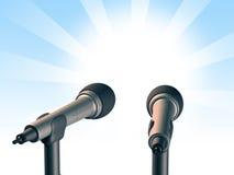 Two microphones. Over a light blue background. Digital illustration stock illustration