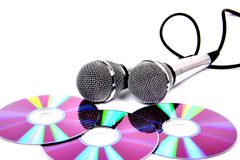 Two microphones. Two microphones with a black cord Royalty Free Stock Image