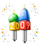 Two microphones with new year 2009 date. Vector illustrations Royalty Free Stock Photo