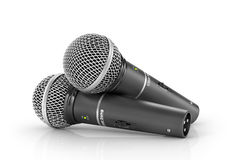 Two microphones on a white background. Royalty Free Stock Photography
