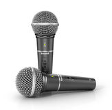 Two microphones on a white background. Royalty Free Stock Photo