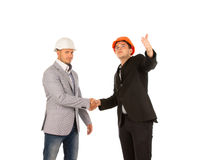 Two Middle Age Building Designers Shaking Hands Stock Photos