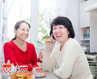 Two middle-aged  girlfriends drinking tea Stock Images