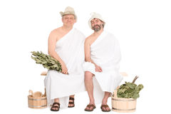 Two middle-aged men in traditional Russian sauna Stock Images