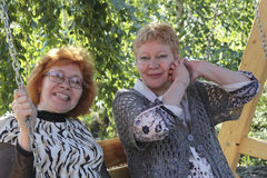 Two middle-aged women Stock Photos