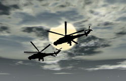 Two military helicopters Royalty Free Stock Photo