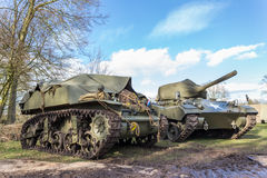 Two military tanks with blue sky Royalty Free Stock Photo