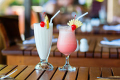 Two milkshakes in a beach restaurant royalty free stock photo