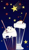 Two milkshakes on a dark blue background. There`s a heart shape of stars in the sky Vector Illustration