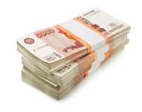 Two million rubles. Stack of 5000 rubles packs  on white Stock Image
