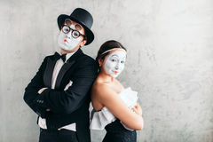 Two mime actors performing in studio royalty free stock image