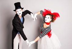 Two mime, pantomime heart, valentine day concept, April Fools Day concept.  stock photography