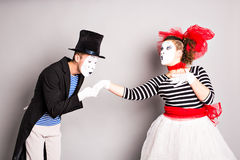 Two mime, pantomime kiss, valentine day concept, April Fools Day concept Stock Photos