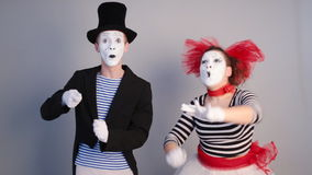 Two Mimes Depicts bird. Funny crazy Mime Depicts bird stock video