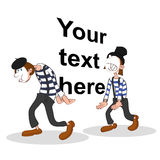 Two mimes holding a big imaginary text Stock Photos
