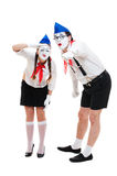 Two mimes looking at something Stock Photo