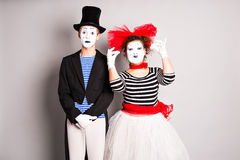 Two mimes man and  woman in april fools day Stock Images