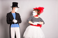 Two mimes man and woman.The concept of Valentine's Day, April Fool's Day. Two mimes men and woman.The concept of Valentine's Day, April Fool's Day royalty free stock photography