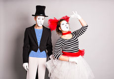 Two mimes man and woman.The concept of Valentine's Day, April Fool's Day. Two mimes men and woman.The concept of Valentine's Day, April Fool's Day royalty free stock image