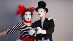 Two Mimes take selfie stock video footage
