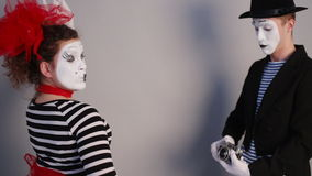 Two Mimes take selfie stock video