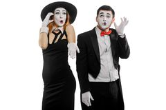 Two mimes talking on phone royalty free stock images