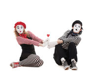 Two Mimes With Red Heart Royalty Free Stock Photos