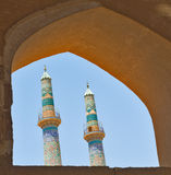 Two minarets. In an ancient city of Yazd, Iran Stock Images