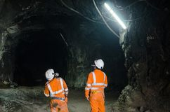 Two miners. Observing the cavern Royalty Free Stock Photo