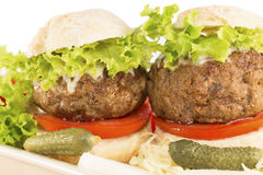 Two mini burgers Royalty Free Stock Photo