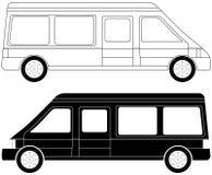 Two mini bus silhouette Stock Photos