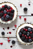 Two mini cheesecake with blackberries, blueberries and red currant on molds on rustic background Stock Photos