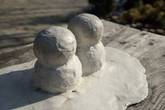 Two mini snow mans royalty free stock image
