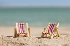 Two miniature deckchairs Royalty Free Stock Photos