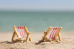 Two miniature deckchairs Royalty Free Stock Image