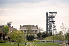 Two mining shaft in the city center of industrial Katowice, Poland Royalty Free Stock Images