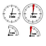 Two Minutes Clock on white background. Four options Vector Illustration