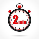 Two minutes stopwatch. Illustration of two minutes stopwatch on white background Stock Image