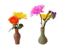 Two mix flowers vase Stock Photo