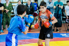 Two mixed martial artists fighting. Chelyabinsk, Russia, on June 14, 2015: mixed martial artists fighting during championship of the southern Urals on pankration stock image